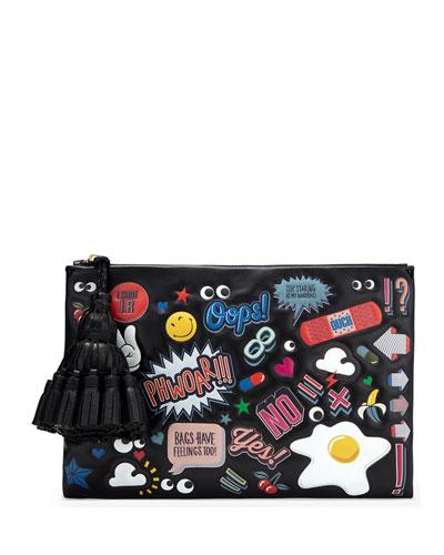 Georgiana All Over Wink Sticker Clutch Bag, Black/Multi