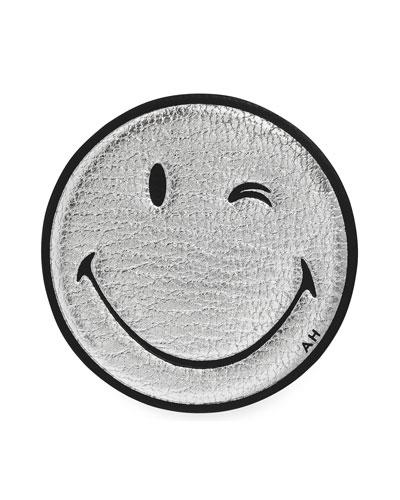 Oversized Wink Smiley Face Sticker for Handbag, Silver