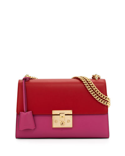 Linea C Leather Lock Shoulder Bag, Red/Pink