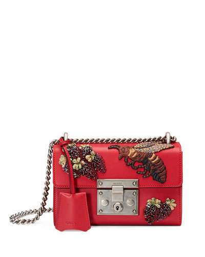 Padlock Small Embroidered Shoulder Bag, Red Multi