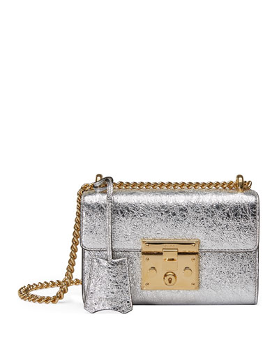 Padlock Small Metallic Shoulder Bag, Gold