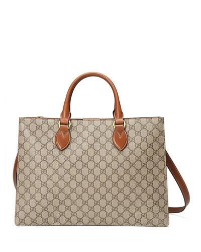 GG Supreme Large Gusset Tote Bag, Brown