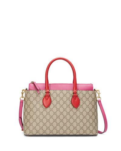 GG Supreme Small Tote Bag, Red/Pink
