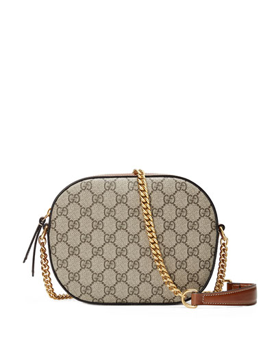 GG Supreme Mini Chain Crossbody Bag, Brown