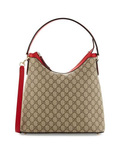 GG Supreme Hobo Bag, Red/Pink