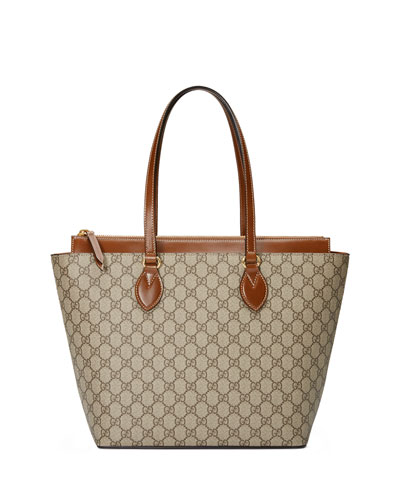 GG Supreme Medium Tote Bag, Brown