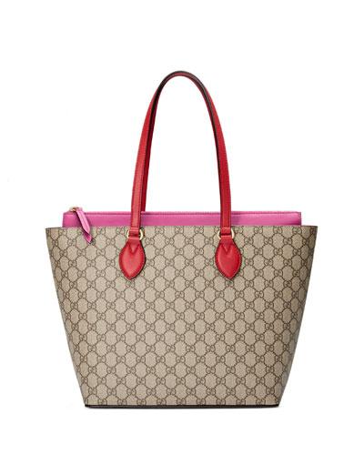 GG Supreme Medium Tote Bag, Red/Pink