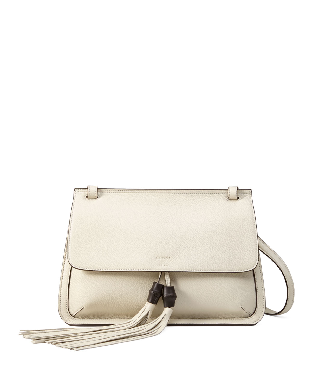 Bamboo Daily Leather Flap Shoulder Bag, White
