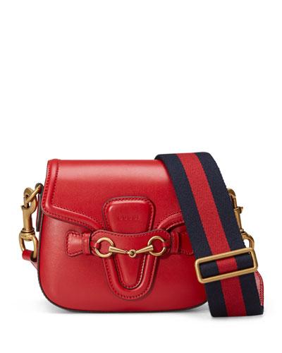 Lady Web Medium Leather Shoulder Bag, Red