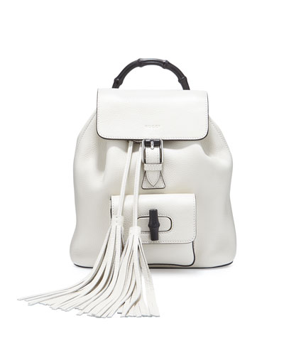 Bamboo Small Leather Backpack, White