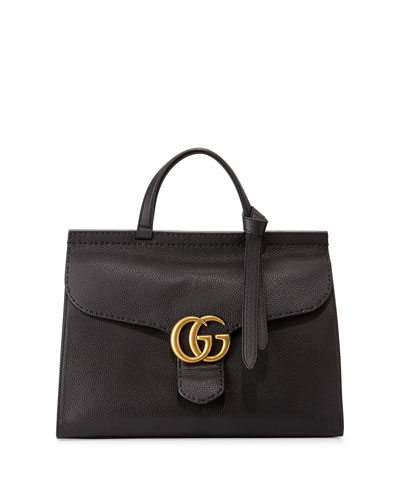 Marmont Large Leather Top-Handle Bag, Black