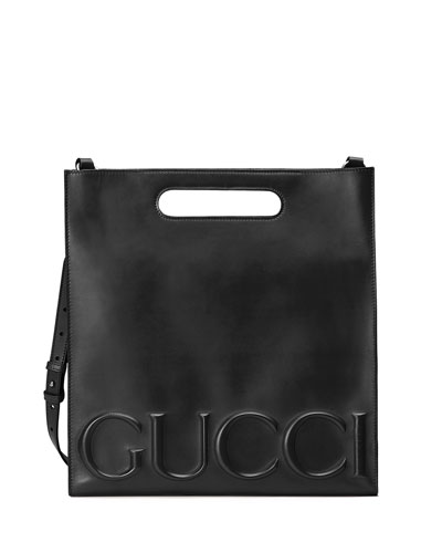 Linea Gucci XL Leather Tote Bag, Black