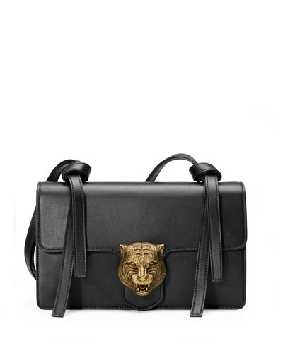 Animalier Leather Shoulder Bag, Black