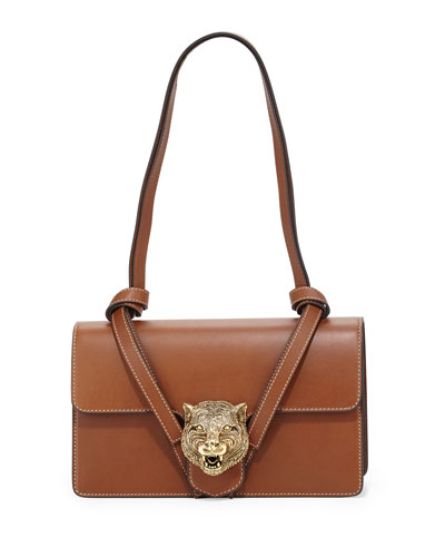 Animalier Leather Shoulder Bag, Cuir