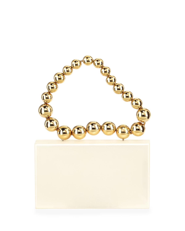 Necklace Pandora Clutch Bag, White/Gold