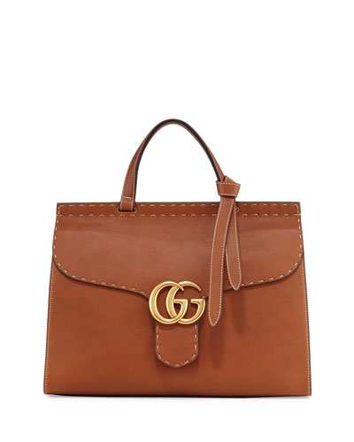 Marmont Large Leather Top-Handle Bag, Cuir