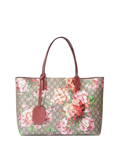 GG Blooms Medium Reversible Leather Tote Bag, Multicolor/Rose