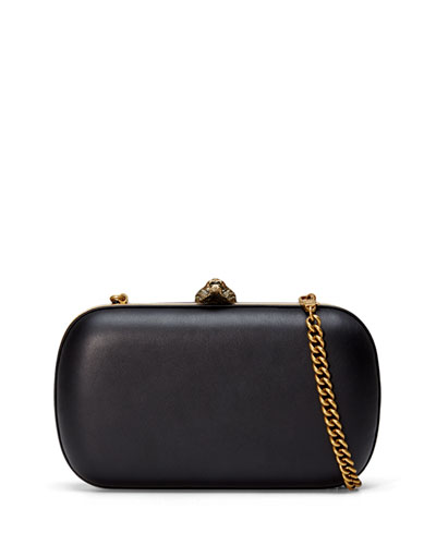 Broadway Round Leather Clutch Bag, Black