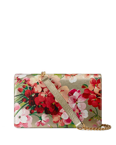 Metallic Leather Blooms Chain Wallet, Gold