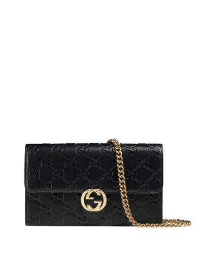 Gucci Icon Guccissima Wallet on Chain, Black