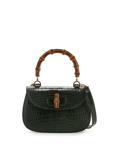 Bamboo Classic Small Crocodile Bag, Emerald Green
