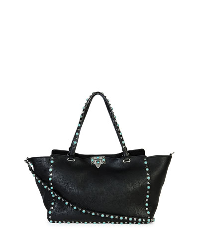 Rockstud Medium Turquoise Studs Tote Bag, Black