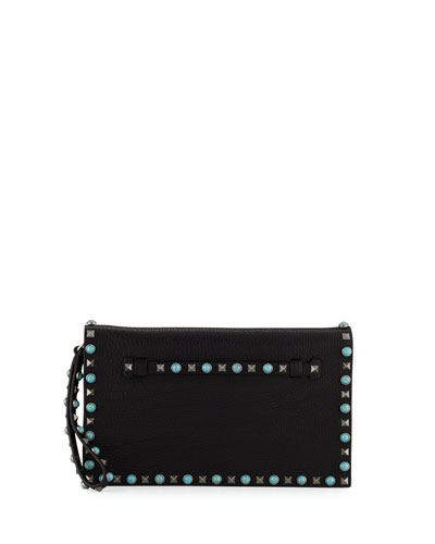 Rockstud Turquoise Medium Flap Clutch Bag, Black