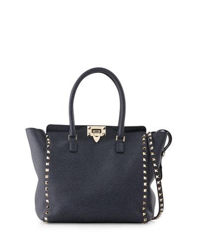 Rockstud Medium Leather Shopper Bag, Denim Blue