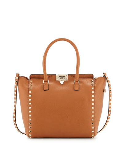 Rockstud Medium Grain Leather Shopper Tote Bag, Tan