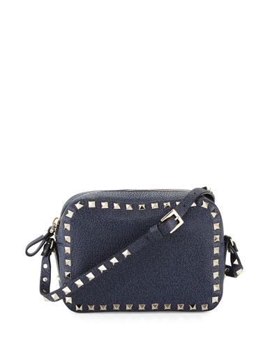 Rockstud Small Zip-Top Camera Bag, Denim Blue
