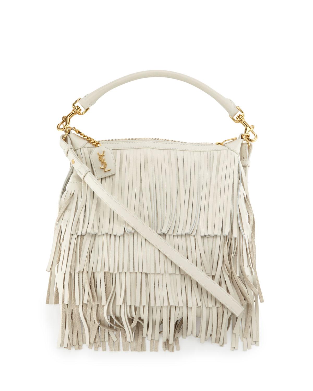 Emmanuelle Small Leather Fringe Hobo Bag, White