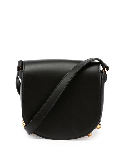 Lia Mini Leather Saddle Bag, Black