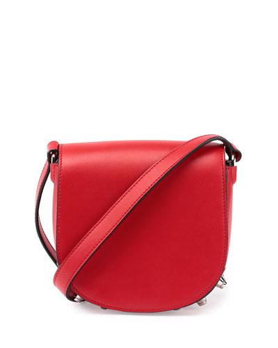 Lia Mini Leather Saddle Bag, Cult