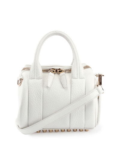 Mini Rockie Leather Satchel Bag, Peroxide/Gold