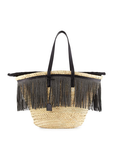 Cesto East-West Fringe-Trim Woven Tote Bag, Natural/Black