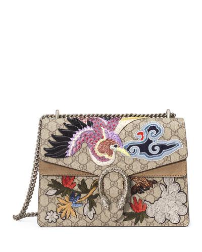 Dionysus Medium Bird Embroidered Shoulder Bag, Multi