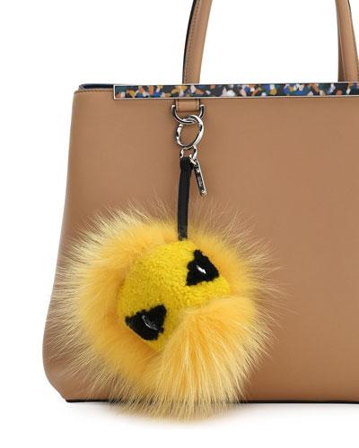 Mixed-stud Lambskin Fringe Charm For Handbag, Black