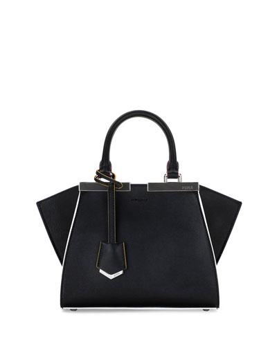 3Jours Mini Painted-Edges Tote Bag, Black/Multi