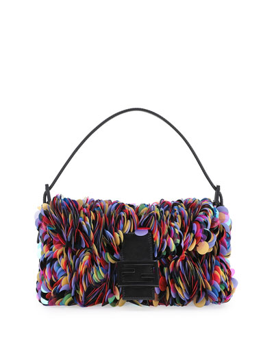 Baguette Sequin Paillettes Shoulder Bag, Black/Multi