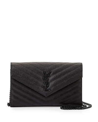Monogram Grainy Leather Wallet-on-Chain, Black