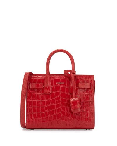 Sac de Jour Nano Croc-Embossed Satchel Bag, Red