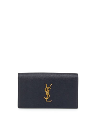 Monogram Calfskin Clutch Bag, Marine Navy