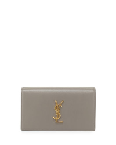 Monogram Calfskin Clutch Bag, Fog Gray