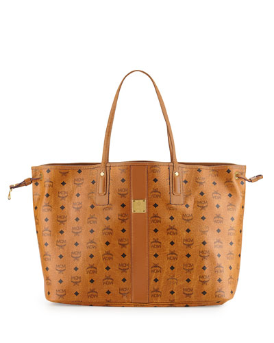 Liz Reversible Large Visetos Tote Bag, Cognac