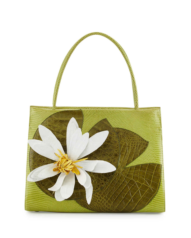 Lotus Wallis Medium Crocodile Lady Bag, Green Multi