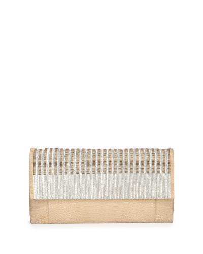 Woven Calf Hair & Crocodile Clutch Bag, Cream Multi