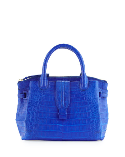 New Cristina Medium Crocodile Tote Bag, Blue Matte