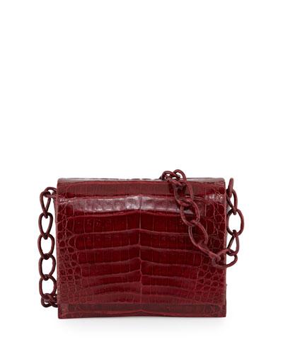 Small Crocodile Chain Crossbody Bag, Red Shiny