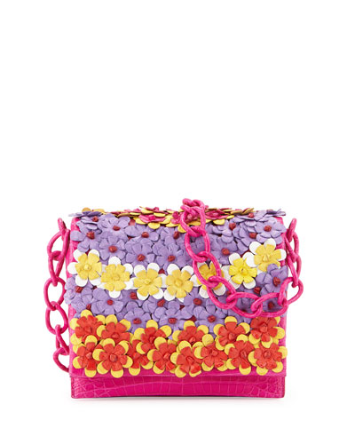 Floral Crossbody Crocodile Bag, Pink Multi