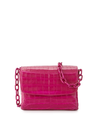 Crocodile Triple-Gusset Mini Crossbody Bag, Pink Matte